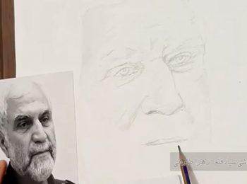 تایم لپس   نقاشی چهره شهید همدانی